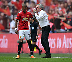Manchester United Manager Jose Mourinho gives instructions to Ashley Young of Manchester United during the FA cup semi-final match at Wembley Stadium, London. Picture date 21st April, 2018. Picture credit should read: Robin Parker/Sportimage