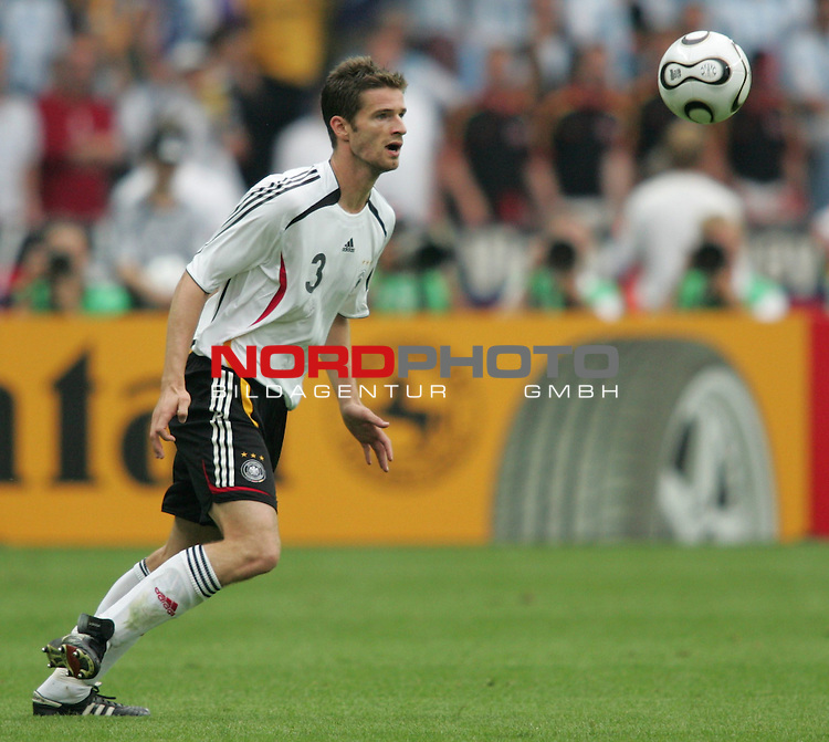 FIFA WM 2006 - Quarter-finals / Viertelfinale<br /> Play #57 (30-Jun) - Germany vs Argentina.<br /> Arne Friedrich from Germany faces the ball during the match of the World Cup in Berlin.<br /> Foto &copy; nordphoto