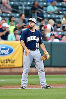 Zack Cox (22) of the New Orleans Zephyrs on defense against the Salt Lake Bees in Pacific Coast League action at Smith's Ballpark on August 27, 2014 in Salt Lake City, Utah.  (Stephen Smith/Four Seam Images)