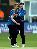 Calum Haggett of Kent is congratulated by Joe Denly after taking the wicket of Peter Trego during the Royal London One Day Cup game between Kent and Somerset at the St Lawrence Ground, Canterbury, on May 29, 2018