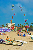 Santa Monica, CA, Holiday, Kite Flying, Walking, playing, Swimming, Beach, Sand Castles, water, sand, California, USA,
