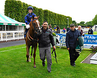 Winner of The First Carlton Novice Auction Stakes Div 1  Gold Venture ridden by Hollie Doyle and trained by Archie Watson during Evening Racing at Salisbury Racecourse on 11th June 2019