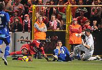 KV Kortrijk - AA Gent.Sawaneh Ibou Ebrahima probeert te scoren al liggend..foto VDB / BART VANDENBROUCKE