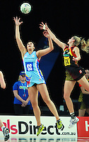 28.06.2010 Magic's Casey Williams and Steels Daneka Wipiiti in action during the ANZ Champs Semi Final netball match between the Magic and Steel played at Vector Arena in Auckland. ©MBPHOTO/Michael Bradley