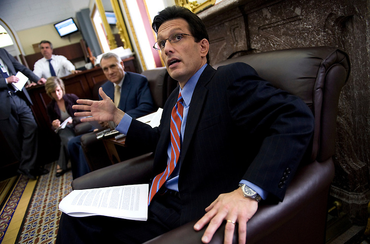 House Minority Whip Eric Cantor, R-Va., right, and Senate Minority Whip Jon Kyl, R-Ariz., talk to the media about the health care reform bill, March 10, 2010.