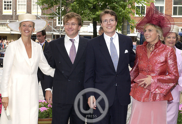 Prince Constantijn, Princess Laurentien, Prince Johan Friso & Princess Mabel attend the Christening of Crown Prince Willem-Alexander & Crown Princess Maxima of Holland's daughter Catharina-Amalia at the St. Jacobskerk Church in The Hague..
