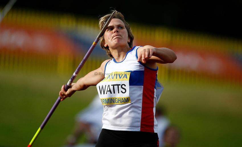 Photo: Richard Lane/Richard Lane Photography..Aviva World Trials & UK Championships athletics. 12/07/2009. Katy Watts in the women's javelin..