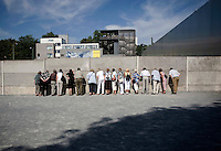 Tourists at the Berlin Wall Memorial.