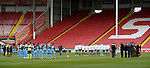 Teams line up for remembrance commemoration during the Emirates FA Cup Round One match at Bramall Lane Stadium, Sheffield. Picture date: November 6th, 2016. Pic Simon Bellis/Sportimage