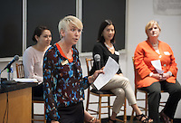 """Tamara Himmelstein speaks.<br /> Marsha Schnirring, Chief of Administrative Affairs, hosts a discussion on """"How Oxy Works"""" featuring: Eileen Spain, Associate Dean, Academic Affairs; Tamara Himmelstein, Assistant Dean of Students; Michelle McMichael, Director of Campaign Communications; Elizabeth Kennedy, Interim Vice President, Institutional Advancement and Maricela Martinez, Associate Dean of Admission. The panel shared their perspectives on the interesting and dynamic work happening at Oxy. Alumni Reunion Weekend, June 11, 2016 in Mosher 1.<br /> (Photo by Marc Campos, Occidental College Photographer)"""