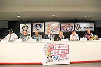 """Pressekonferenz zum """"Hessen Schoppe"""", dem Derby zwischen den vier südhessischen American Football Zweitligisten in der Frankfurter Commerzbank Arena"""