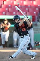 Bakersfield Blaze outfielder Andrew Means #13 bats against the High Desert Mavericks at Mavericks Stadium on July 17, 2011 in Adelanto,California. Bakersfield defeated High Desert 11-10.(Larry Goren/Four Seam Images)