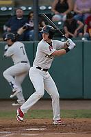 Visalia Rawhide first baseman Pavin Smith (6) at bat during a California League game against the Stockton Ports at Visalia Recreation Ballpark on May 8, 2018 in Visalia, California. Stockton defeated Visalia 6-2. (Zachary Lucy/Four Seam Images)