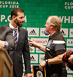 Jimmy Nicholl with Ruud van Nistelrooy swapping tales of being Man Utd legends at the launch of the Florida Cup in Orlando