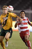 FC Dallas's Arturo Alverez, right, and Los Angeles Galaxy's Chris Albright, right, battle for the ball in the US Open Cup, in the half at the Home Depot Center, in Carson, Calif., Wednesday, September 28, 2005. The Galaxy won 1-0.