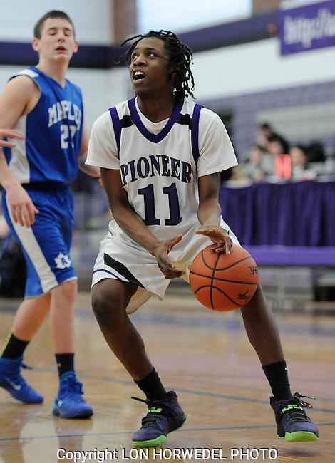 Pioneer High School freshman boy's basketball in action against Adrian High School, Wednesday, February 12, 2014, at Pioneer High School.Pioneer High School freshman boy's basketball in action against Adrian High School, Wednesday, February 12, 2014, at Pioneer High School.