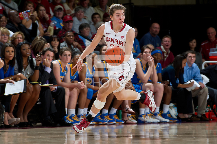 STANFORD, CA - January 20, 2011: Stanford Cardinal's Toni Kokenis during Stanford's 64-38 victory over UCLA at Maples Pavilion in Stanford, California.