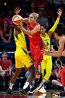 Washington, DC - June 14, 2019: Washington Mystics forward Elena Delle Donne (11) passes the ball out of a double team during game between Seattle Storm and Washington Mystics at the St. Elizabeths East Entertainment and Sports Arena in Washington, DC. The Storm hold on to defeat the Mystics 74-71. (Photo by Phil Peters/Media Images International)