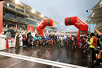 PICTURE BY MARK GREEN/SWPIX.COM ATP  Tour of Abu Dhabi - Yas Island Stage, UAE, 26/02/17<br /> The riders assemble for the start of the Yas Marina stage under leaden skys and a very unseasonable rain storm.