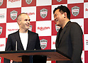 May 24, 2018, Tokyo, Japan - Spanish midfielder Andres Iniesta of former FC Barcelona smiles with Japan's online commerce giant Rakuten president Hiroshi Mikitani (R) as he joins Vissel Kobe of Japan's professional football league J-League in Tokyo on Thursday, May 24, 2018. Vissel Kobe is owned by Mikitani's Rakuten and Rakuten is now uniform sponsor of FC Barcelona.   (Photo by Yoshio Tsunoda/AFLO) LWX -ytd-
