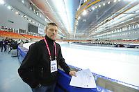 SPEEDSKATING: SOCHI: Adler Arena, 19-03-2013, Training, Alexander Kibalko (Member ISU Technical Committee Speed Skating), © Martin de Jong
