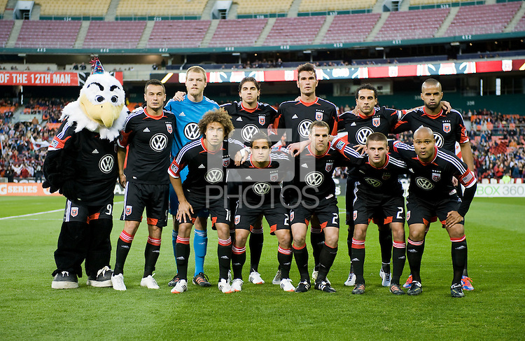 D.C. United lines up before the game at RFK Stadium in Washington DC.   D.C. United tied  the Seattle Sounders, 0-0.