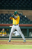 AZL Athletics designated hitter Lazaro Armenteros (28) bats during a game against the AZL Giants on August 5, 2017 at Scottsdale Stadium in Scottsdale, Arizona. AZL Athletics defeated the AZL Giants 2-1. (Zachary Lucy/Four Seam Images)