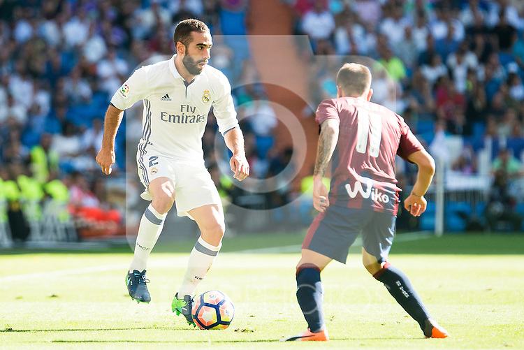 Real Madrid's player Daniel Carvajal and Eibar FC's player Ruben Peña Jimenez during a match of La Liga Santander at Santiago Bernabeu Stadium in Madrid. October 02, Spain. 2016. (ALTERPHOTOS/BorjaB.Hojas)