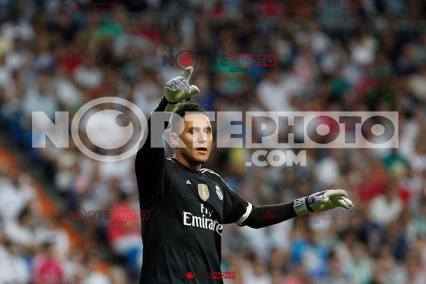 Real Madrid´s goalkeeper Keylor Navas during La Liga match at Santiago Bernabeu stadium in Madrid, Spain. August 29, 2015. (ALTERPHOTOS/Victor Blanco)