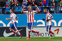 Atletico Madrid´s Spanish forward Fernando Torres celebrating after scoring