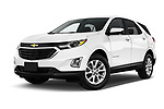 Stock pictures of low aggressive front three quarter view of a 2019 Chevrolet Equinox LT 5 Door SUV
