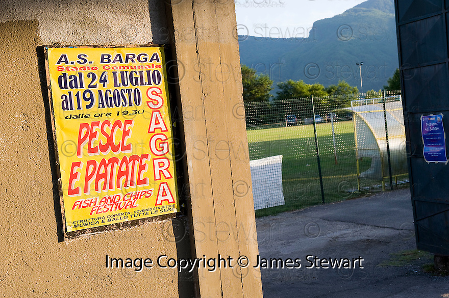 SAGRA DEL &quot;PESCE E PATATE&quot; 2011, BARGA, ITALY<br /> <br /> STADIO COMUNALE &quot;JOHNNY MOSCARDINI&quot;, HOME OF A.S. BARGA AND THE LOCATION OF THE SAGRA DEL &quot;PESCE E PATATE&quot; 2011