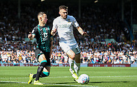 Leeds United's Stuart Dallas gets past Swansea City's Bersant Celina<br /> <br /> Photographer Alex Dodd/CameraSport<br /> <br /> The EFL Sky Bet Championship - Leeds United v Swansea City - Saturday 31st August 2019 - Elland Road - Leeds<br /> <br /> World Copyright © 2019 CameraSport. All rights reserved. 43 Linden Ave. Countesthorpe. Leicester. England. LE8 5PG - Tel: +44 (0) 116 277 4147 - admin@camerasport.com - www.camerasport.com