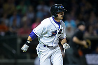 Brady Conlan (9) of the Winston-Salem Dash hustles down the first base line against the Buies Creek Astros at BB&T Ballpark on April 15, 2017 in Winston-Salem, North Carolina.  The Astros defeated the Dash 13-6.  (Brian Westerholt/Four Seam Images)