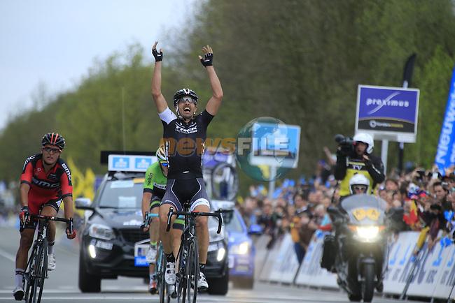 Fabian Cancellara (SUI) Trek Factory Racing outsprints Greg Van Avermaet (BEL) BMC Racing Team in 2nd place and Sep Vanmarcke (BEL) Belkin Pro Cycling 3rd to take victory in the 2014 Tour of Flanders, Oudenaarde, Belgium.<br /> Picture: Eoin Clarke www.newsfile.ie