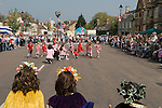 [Stilton village] May Fair. Cambridgeshire. UK 2008. May Queen and King with attendant watch Maypole dancing.