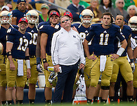 Brian Kelly and the Irish bench react to a missed field goal attempt in the second quarter.