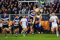 Jack Nowell of Exeter Chiefs claims the ball in the air. Aviva Premiership match, between Bath Rugby and Exeter Chiefs on December 31, 2016 at the Recreation Ground in Bath, England. Photo by: Patrick Khachfe / Onside Images