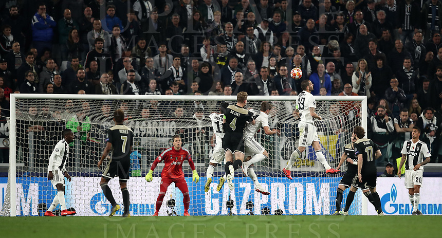Football Soccer: UEFA Champions UEFA Champions League quarter final second leg Juventus - Ajax, Allianz Stadium, Turin, Italy, March 12, 2019. <br /> Ajax's captain Matthijs de Ligt (c) scores during the Uefa Champions League football match between Juventus and Ajax  at the Allianz Stadium, on March 12, 2019.<br /> UPDATE IMAGES PRESS/Isabella Bonotto