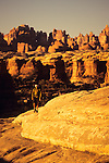 A young man hikes in the Needles District of Canyonlands National Park, Utah.
