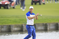 Alex Noren (Team Europe) acknowledge the crowd at the 18th green during the Sunday Singles of the Ryder Cup, Le Golf National, Ile-de-France, France. 30/09/2018.<br /> Picture Thos Caffrey / Golffile.ie<br /> <br /> All photo usage must carry mandatory copyright credit (© Golffile | Thos Caffrey)