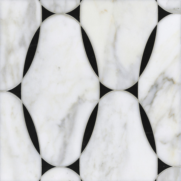 Spencer, a stone water jet mosaic, shown in Calacatta Tia and Nero Marquina, is part of the Ann Sacks Beau Monde collection sold exclusively at www.annsacks.com