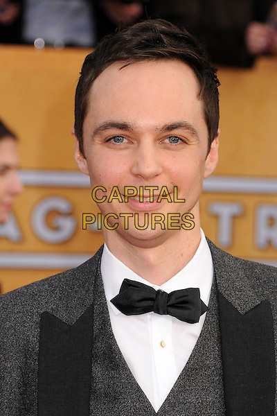 Jim Parsons.Arrivals at the 19th Annual Screen Actors Guild Awards at the Shrine Auditorium in Los Angeles, California, USA..27th January 2013.SAG SAGs headshot portrait black bow tie white shirt grey gray tuxedo.CAP/ADM/BP.©Byron Purvis/AdMedia/Capital Pictures
