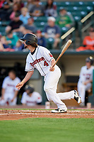 Rochester Red Wings shortstop Sean Miller (4) follows through on a swing during a game against the Pawtucket Red Sox on May 19, 2018 at Frontier Field in Rochester, New York.  Rochester defeated Pawtucket 2-1.  (Mike Janes/Four Seam Images)