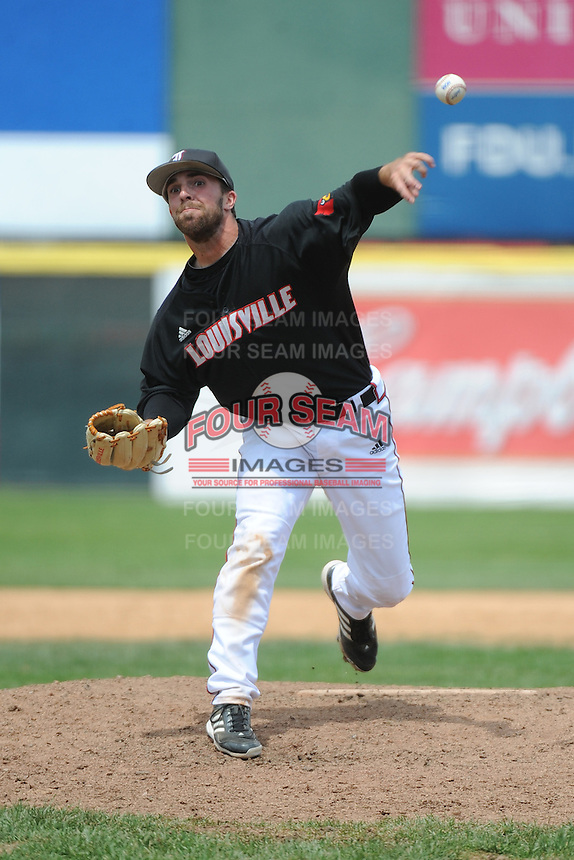 University of Louisville Cardinals pitcher Cole Sturgeon (15) during a game against the Temple University Owls at Campbell's Field on May 10, 2014 in Camden, New Jersey. Temple defeated Louisville 4-2.  (Tomasso DeRosa/ Four Seam Images)