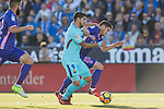 Luis Alberto Suarez Diaz of FC Barcelona (L) fights for the ball with Joseba Zaldua Bengoechea of CD Leganes (R)  during the La Liga 2017-18 match between CD Leganes vs FC Barcelona at Estadio Municipal Butarque on November 18 2017 in Leganes, Spain. Photo by Diego Gonzalez / Power Sport Images