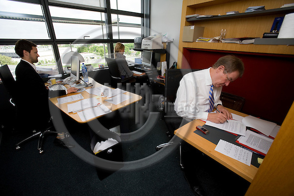 STRASBOURG - FRANCE - 06 MAY 2009 -- MEP Poul Nyrup RASMUSSEN in his small cramped office during his last Parliamentarian session in Strasbourg before he retires as MEP.  Photo: Erik Luntang/EUP-IMAGES