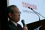 Toshiba Corp. President Satoshi Tsunakawa speaks during a news conference at the company's headquarters on March 14, 2017, Tokyo, Japan. Tsunakawa said that Toshiba could sell its majority stake in Westinghouse in the U.S. as part of a plan to return the business to growth, and he also said that Toshiba would delay for a second time the announcement of its earnings for the October-December period due to auditing problems. (Photo by Rodrigo Reyes Marin/AFLO)