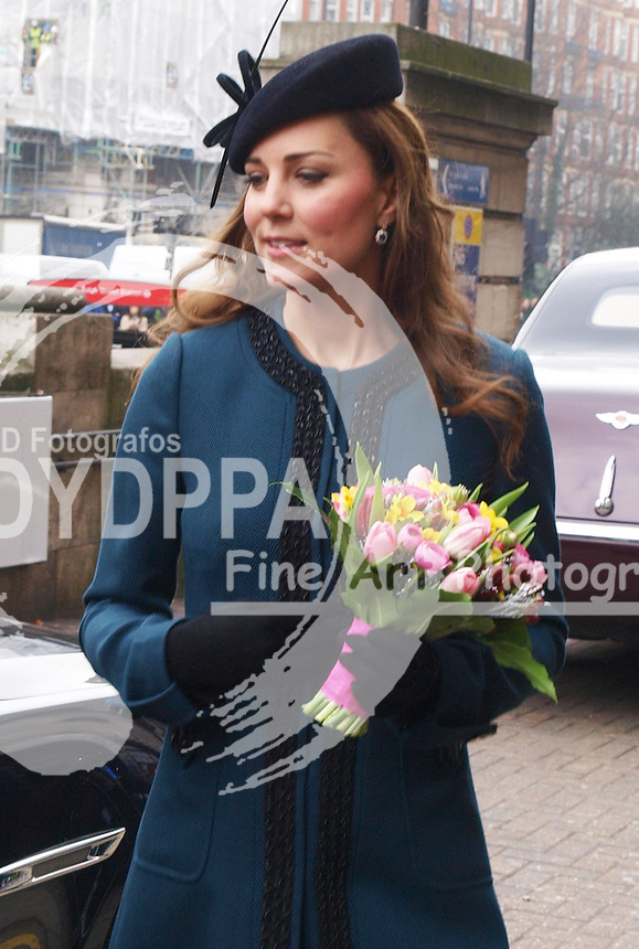 The Duchess of Cambridge leaving Baker Street tube station in London, after a visit as part of the London Underground's 150th anniversary, Wednesday, 20th March 2013. Photo by Max Nash / i-Images / DyD Fotografos