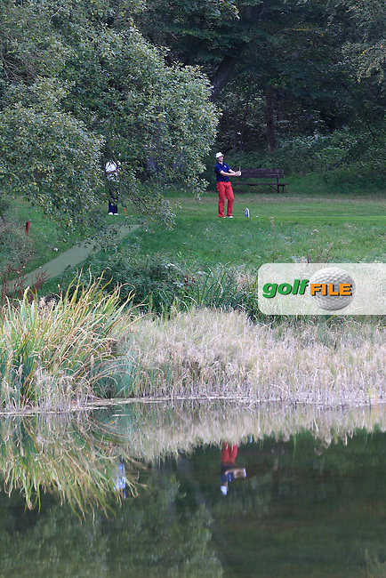 Sam burns (USA) on the 16th tee of the Mixed Fourballs during the 2014 JUNIOR RYDER CUP at the Blairgowrie Golf Club, Perthshire, Scotland. <br /> Picture:  Thos Caffrey / www.golffile.ie